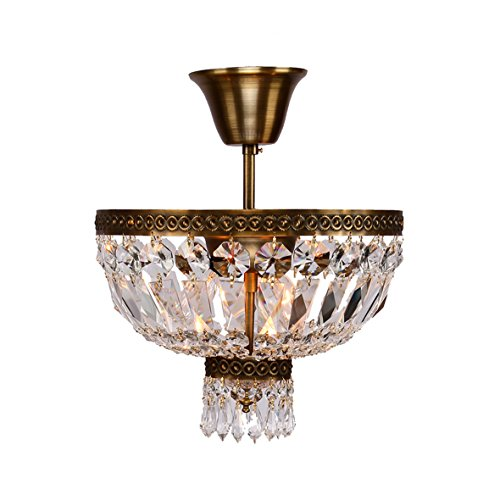 Worldwide Lighting W33087B12 Metropolitan 1 Light With Clear Crystal Semi-Flush Mount Ceiling Light, Small, Bronze