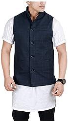 Suchos Men's Poly Cotton Nehru Jacket (SJ16, Navy Blue, L)