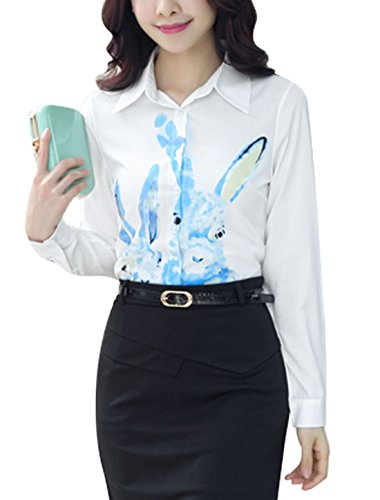 Women Long Sleeve Point Collar Rabbit Print Casual Button Down Shirt down the rabbit hole