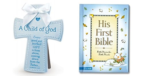 Child of God Ceramic Cross in Blue and His First Bible