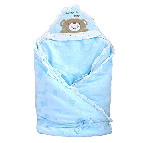 Dehang Warm Infant Sleepsack Baby Swaddle Detachable Liner Sleeping Bag Hooded Blanket - Blue