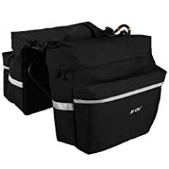 BV Bicycle Panniers feature large zippered pockets, 3M Scotch Lite reflective trim and a handy carrying handle for off-road use.  Its angled pocket design ensures that cyclists have ample pedaling space, while four shelf straps sewn onto the joined m...