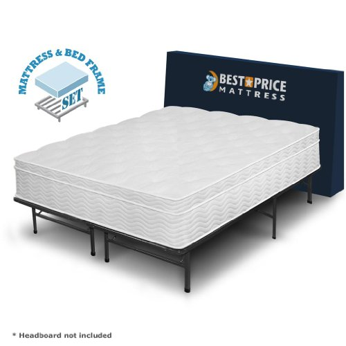 Big Save! Luxtouch California King 13″ Euro Box Top Spring Mattress and Bed Frame Set -…