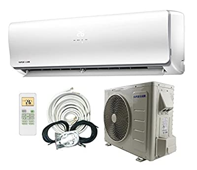 SuperAir 12000 BTU 23 SEER (1 TON) Ductless Mini Split System Inverter Air Conditioner with Heat Pump 110V - FULL SET