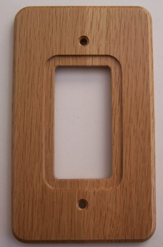 Medium Oak Wood Single GFCI / Rocker Wall Plate