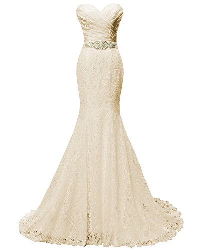 Solovedress Women's Lace Wedding Dress Mermaid Evening Dress Bridal Gown with Sash (US 10, Champagne)