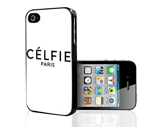 "Black ""Célfie Paris"" Words on White Background Hard Snap on Phone Case (iPhone 4/4s)"
