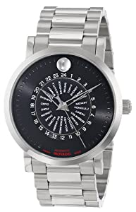 Movado Men's 0606698 Red Label Stainless Steel Case and Bracelet Black Dial Watch