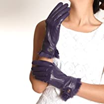 ELMA Supple Nappa Leather Gloves Rabbit Fur Cuff Cashmere Lining Gold Plated Logo (M, Purple)