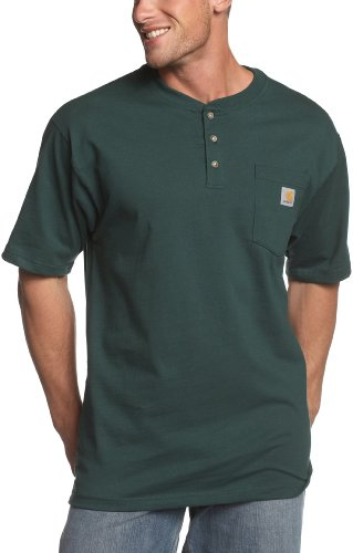 Carhartt Men's Short Sleeve Workwear Henley,  Hunter Green, XX-Large Regular