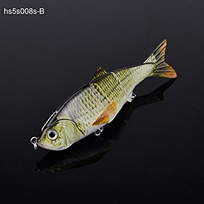 Alice 5¡å Bass Pike Fake Baits Multi Jointed Fishing Lures Sinking Rattles 19g B from Alice