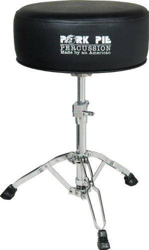 Pork Pie Round Drum Throne Gel Black sides with Black top all vinyl