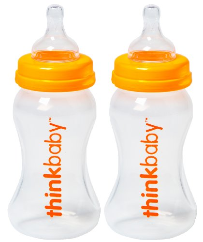 Thinkbaby 2 Pack BPA Free Vented Baby Bottles, 9 Ounce, Natural/Orange - 1
