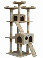 "Go Pet Club 72"" Tall Beige Cat Tree Furniture"