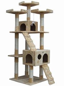 """Go Pet Club 72"""" Tall Beige Cat Tree Furniture"""