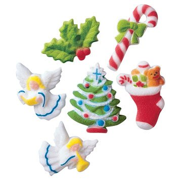 Christmas Deluxe Assortment Holiday Winter Sugar Decorations Cookie Cupcake Cake 12 Count