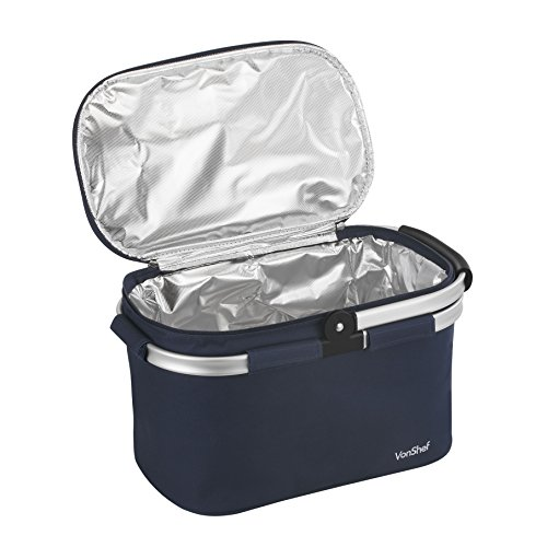 VonShef Foldable 22L Insulated Large Cooler Bag - Navy (Foldable Cooler compare prices)