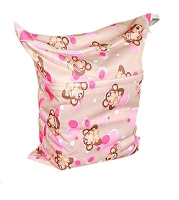 Print Baby Cloth Diaper Waterproof Zippered Wet/Dry Bags, Monkeys