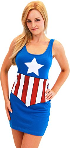 Captain America Blue Juniors Costume Tunic Tank Dress