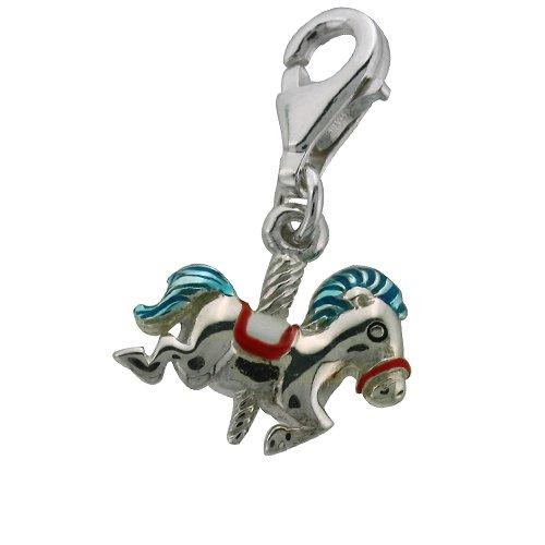 Sterling Silver Carousel Horse Blue Enamel