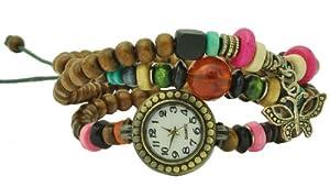 Wood Beads Charm Bracelet Watch, Watch Bracelet, Ladies Watch, Layering Watch Bracelet, #3