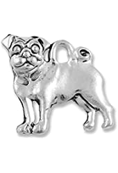 Pug Charm Double Sided Pewter Antique Silver Plated (1-Piece)