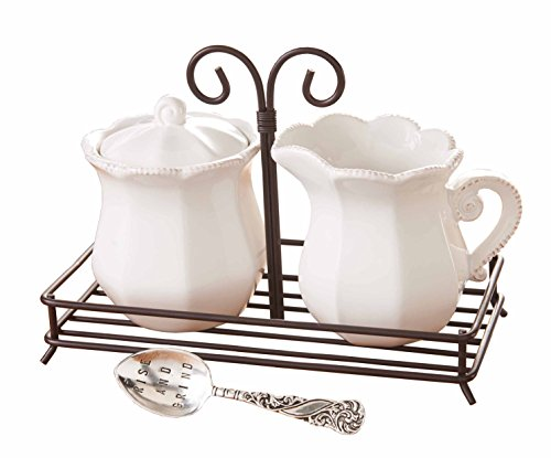 Mud Pie 4781001 Circa Style Cream And Sugar Set With Spoon And Carry Caddy