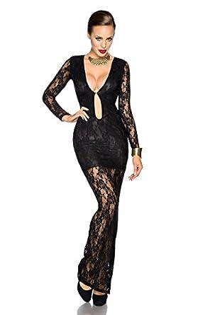 sexy damen kleider abendkleid langes kleid langarm mit spitze lange. Black Bedroom Furniture Sets. Home Design Ideas