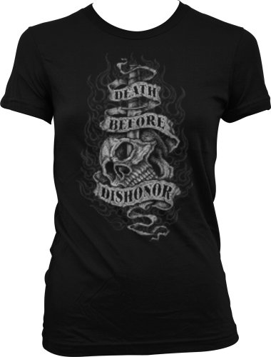 Death Before Dishonor Juniors Tattoo Design T-Shirt, Tattoo Style Skull Knife And Flames Juniors Shirt, Medium, Black