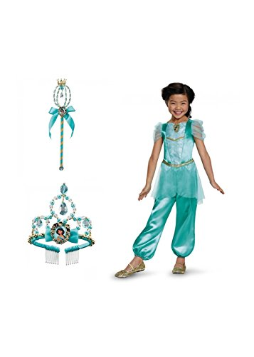 [Little Girls Disney Princess Jasmine Dress Wand and Tiara Costume Set] (Princess Jasmine Costumes Tiara)