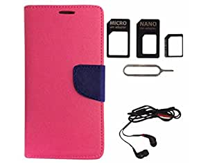 Avzax Diary Look Flip Wallet Case Cover For Samsung Galaxy A8 (Pink) + SIM Card Adapter + In Ear Headphone