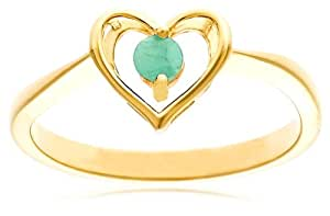 Yellow Gold Plated Sterling Silver Emerald Heart Ring, Size 7