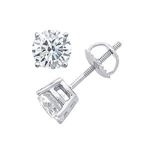 PARIKHS Round Diamond stud Prestige Quality in Screw Back 14K White Gold (0.07 ctw, SI1 clarity)