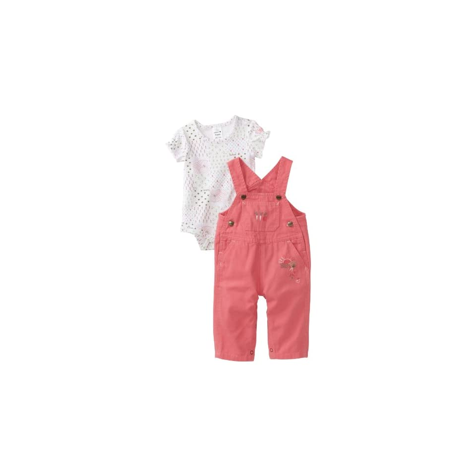 Carhartt Baby girls Infant Washed Bib Overall Set, Confetti, 3 Months