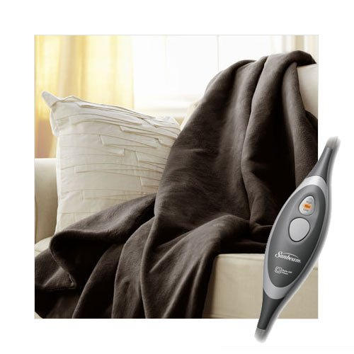 Sunbeam Microplush Electric Heated Throw Blanket Walnut Brown 8030-030-470