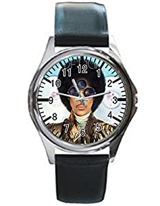 Dude Custom Prince Men's Black leather watch round black custom watches Perfect Gift for men and women