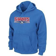 New York Giants Majestic Felt Tek Patch Blue Hooded Sweatshirt by VF