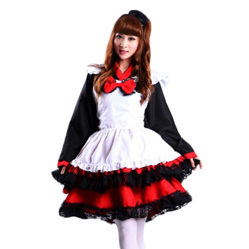 TOMSUIT Plus Size Witch Hanbok Cosplay Maid Costume Dress Set