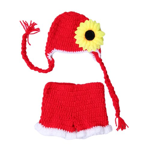 JTC Red Newborn Baby Infant Cap Hat Sunflower Costume Photo Prop Pants