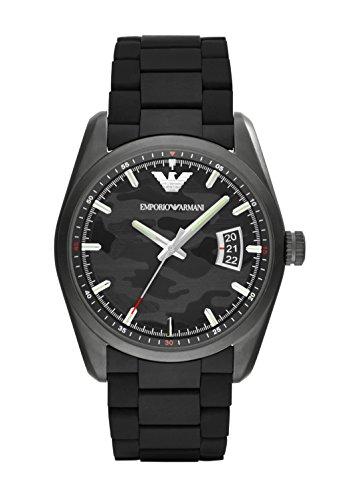 Emporio Armani AR6052 - Reloj de cuarzo para hombre, correa de goma color negro