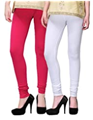 2Day Women's Cotton Churidaar Legging White/Fushia (Pack Of 2)