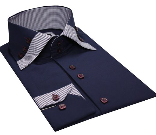 Italian Design Men's High Collar Shirt Formal & Casual Wear Navy Colour