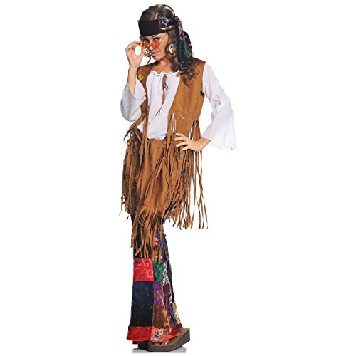[GSG Hippie Costumes for Women 1960s 1970s Halloween Flower Child Fancy Dress] (Wild Flower Child Hippie Costume)