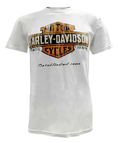 Harley-Davidson Mens Distressed Bar & Shield T-Shirt White 30291073 (L)