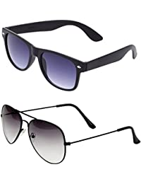 SHEOMY COMBO OF STYLISH BLACK WHITE AVIATOR AND BLACK BLUE WAYFARER SUNGLASSES WITH 2 BOX - Free Delivery