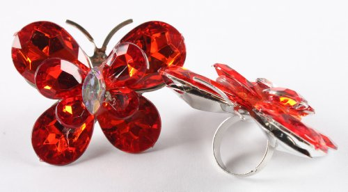 Ladies Red Double Butterfly Metal Adjustable Finger Ring
