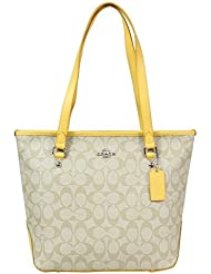 Coach Signature Zip Top Tote Bag - Silver/Light Khaki/Canary (F34603)