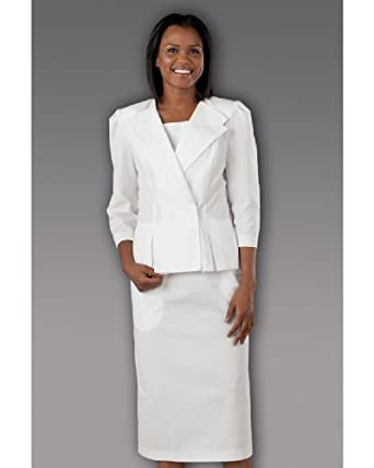 White 2-Piece Jacket and Skirt Suit by Peaches Uniforms. Great for Nurses!