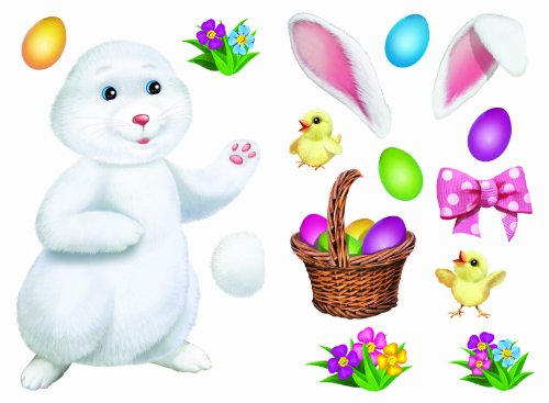 "Easter Clings Kit 17"" x 12"" (2 Sheets) Reusable Vinyl Wall Decal, Mirror and Window Cling Home Glass Decorations MADE IN USA (Build a Bunny w/ Basket and Chicks)"