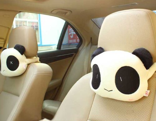 Panda Head Pillow Cushion for Neck Waist Lumbar Rest Car - White and Black